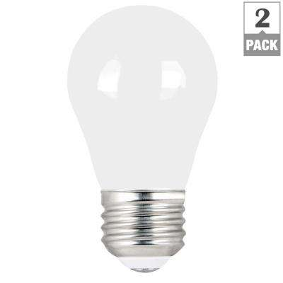 60-Watt Equivalent A15 Dimmable Filament LED 90+ CRI White Glass Light Bulb, Daylight (2-Pack)