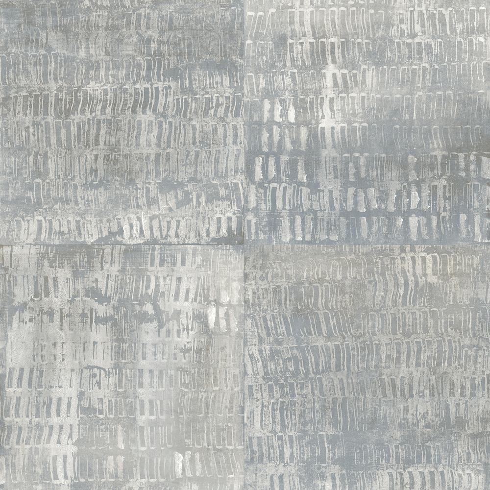 56.4  sq. ft. Conundrum Blue Faux Metal Wallpaper