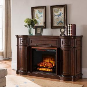 Bold Flame Vanderbilt 68 inch Media Console Electric Fireplace in Walnut by Electric Fireplaces