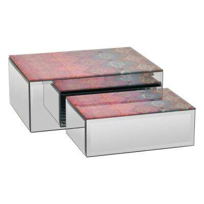 10 in. x 7.75 in. x 4 in. Red Multicolor Glass Mirrored Box (Set of 2)