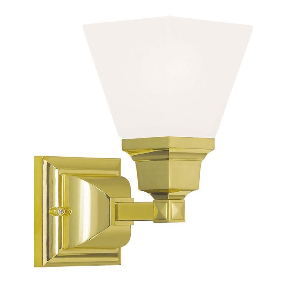 Mission 1-Light Polished Brass Bath Light