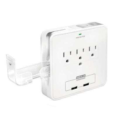 3-Outlet Surge Protector with 2 USB Ports and Phone Cradles