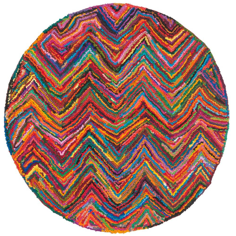 Safavieh Nantucket Pink/Multi 4 ft. x 4 ft. Round Area Rug