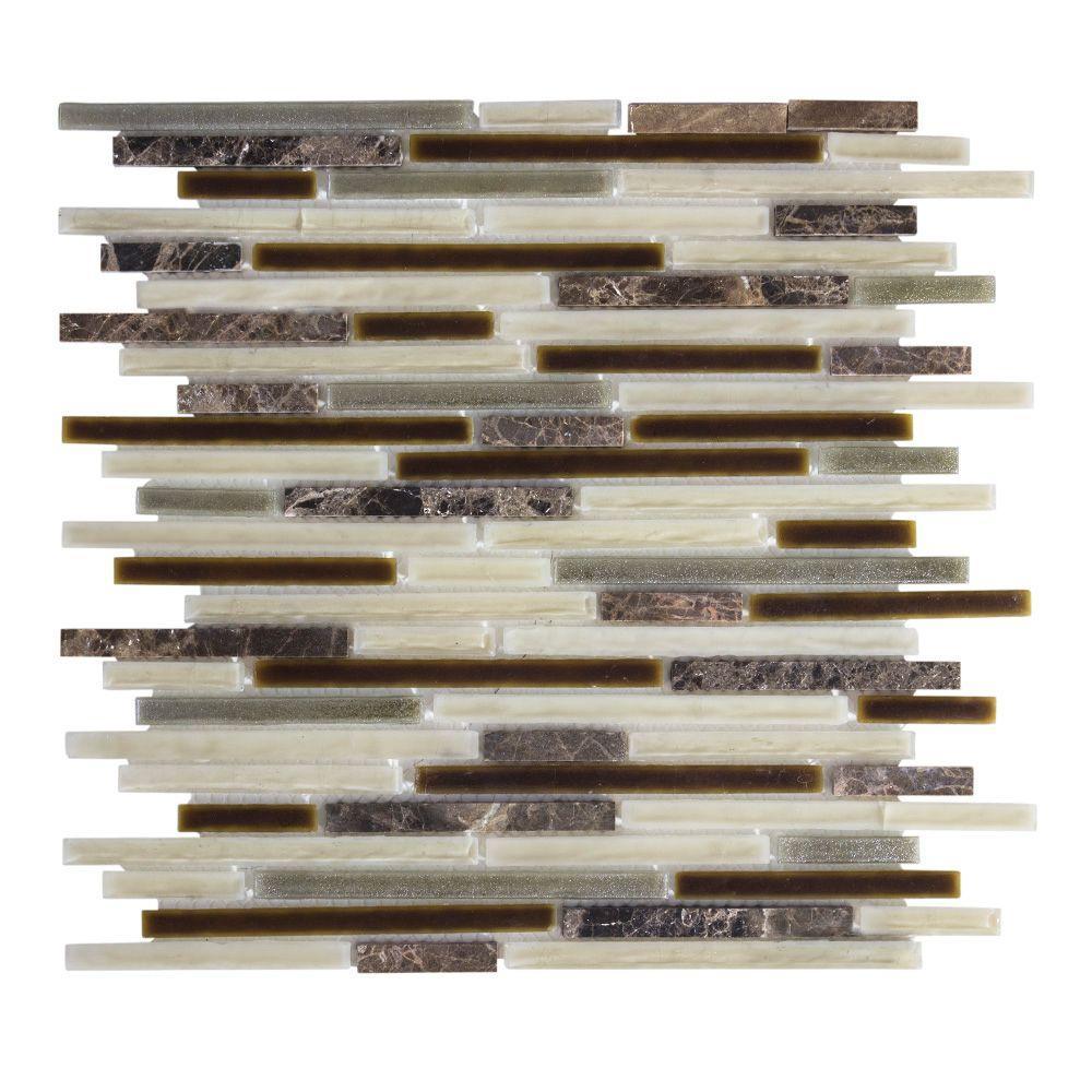 Jeffrey Court Brimstone 13 in. x 11.625 in. x 8 mm Glass/Stone Mosaic Wall Tile