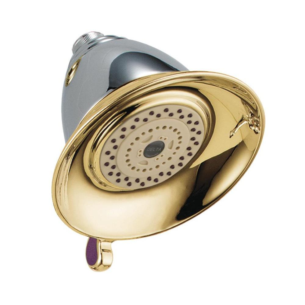 Victorian 3-Spray 5-1/2 in. Touch-Clean Shower Head in Chrome/Polished Brass