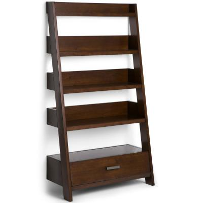 Deanna Solid Wood 66 in. x 36 in. Contemporary Ladder Shelf in Medium Auburn Brown