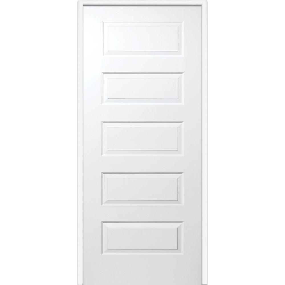 32 in. x 80 in. Smooth Rockport Left-Hand Solid Core Primed Molded Composite Single Prehung Interior Door