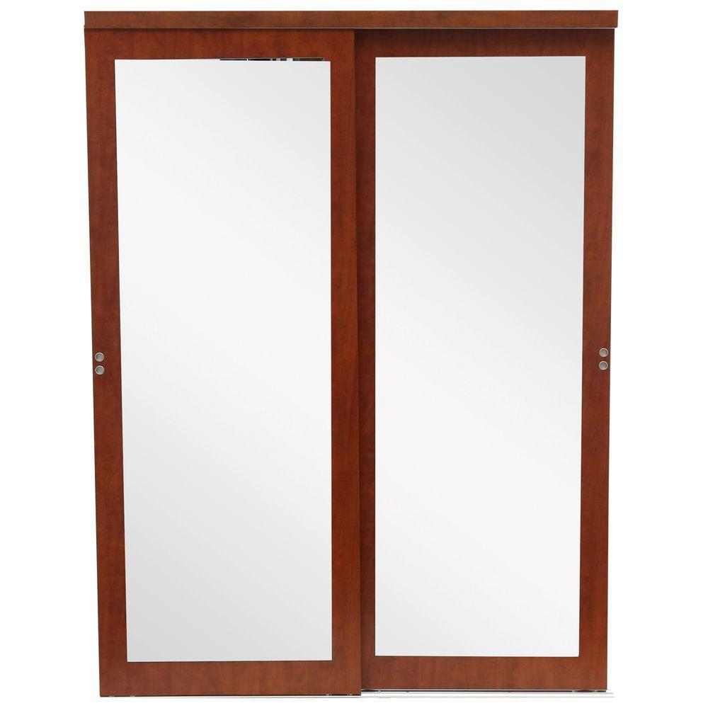 Mir Mel Mirror Solid Core Cherry Mdf Interior Closet Sliding Door With Matching Trim