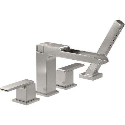Ara 2-Handle Deck-Mount Roman Tub Faucet Trim Kit with Channel Spout and Hand Shower in Stainless