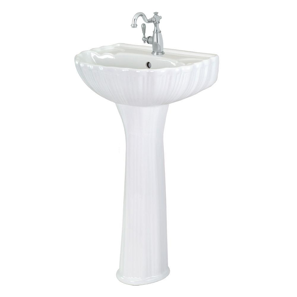 Foremost Brielle Pedestal Combo Bathroom Sink in White
