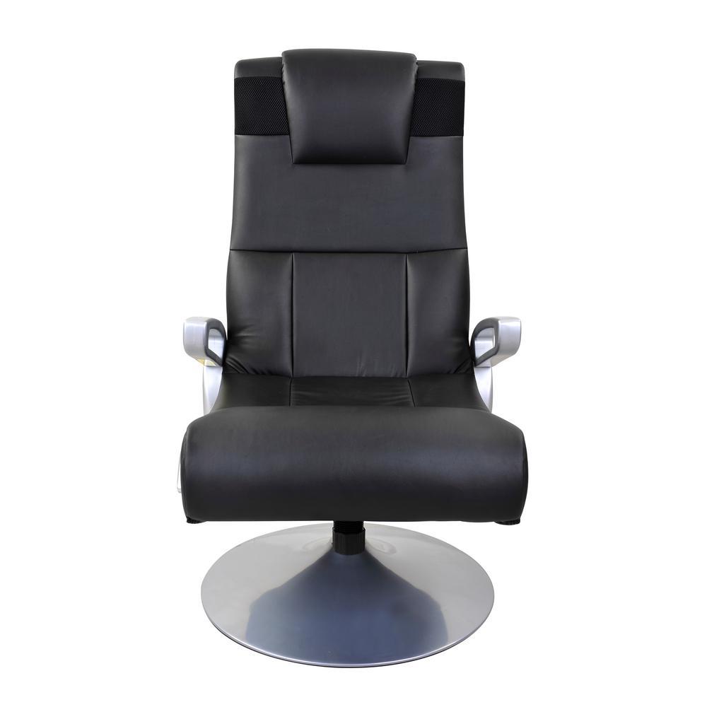 Black Vinyl Wireless Audio Pedestal Chair