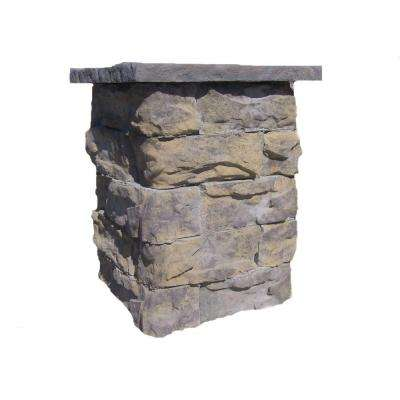 42 in. Concrete Tall Fossill Limestone Column Kit with Top Cap