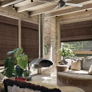 Espresso Cordless Semi-Private Flat Weave Bamboo Roman Shade - 33 in. W x 64 in. L (Actual Size: 32.5 in. W x 64 in. L)