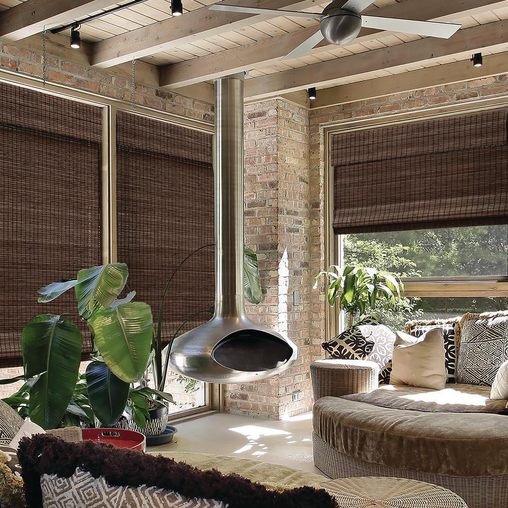 Espresso Cordless Semi-Private Flat Weave Bamboo Roman Shade- 34 in. W x 64 in. L (Actual Size: 33.5 in. W x 64 in. L)