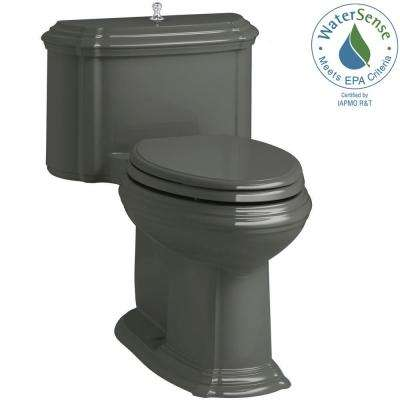 Portrait 1-piece 1.28 GPF Single Flush Elongated Toilet with AquaPiston Flush Technology in Thunder Grey, Seat Included