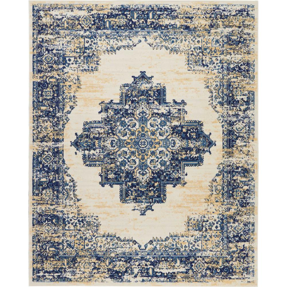 Oriental Rugs Grand Rapids: Nourison Grafix 8 Ft. X 10 Ft. White And Blue Large