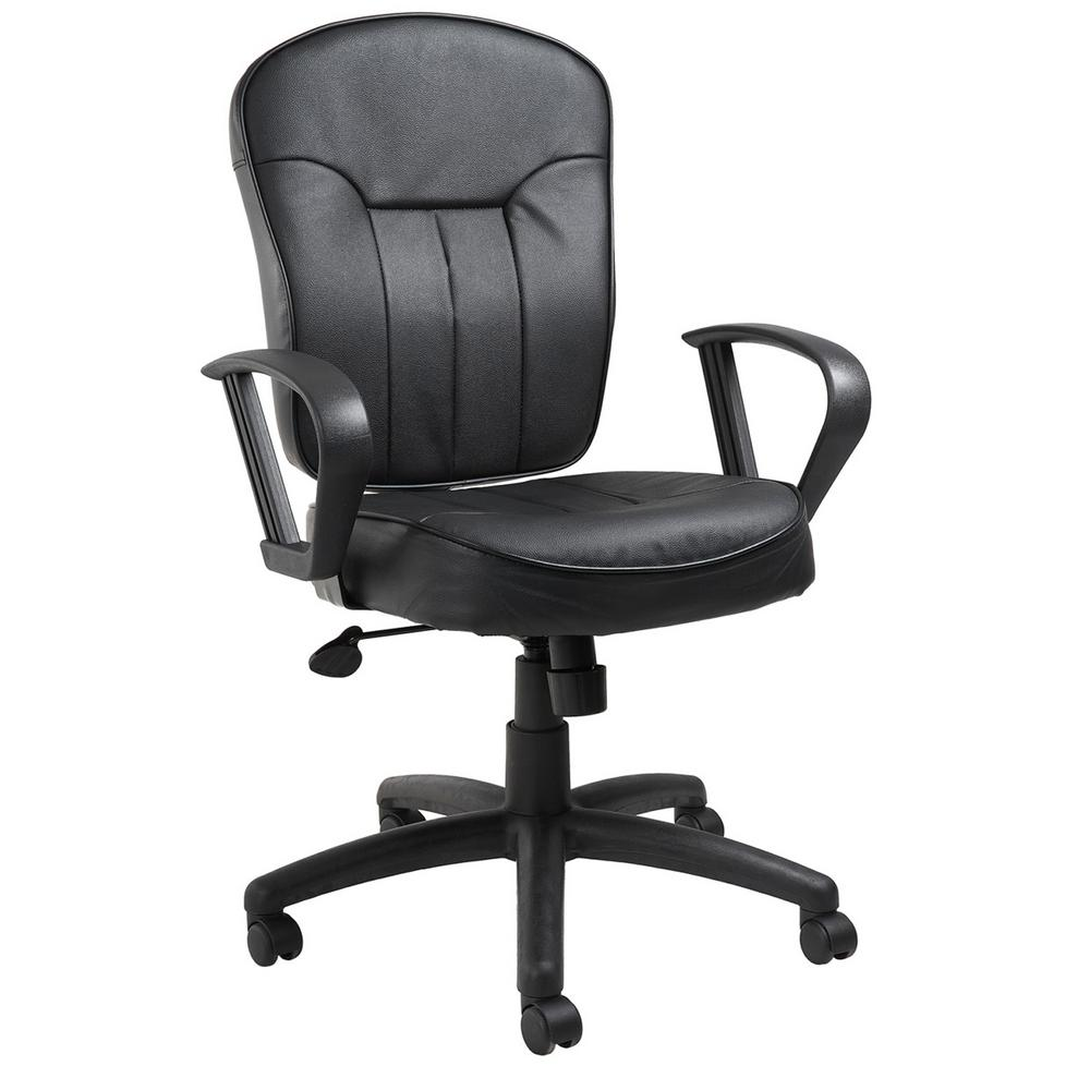Boss Black Leather Task Chair With Loop Arms-B1562