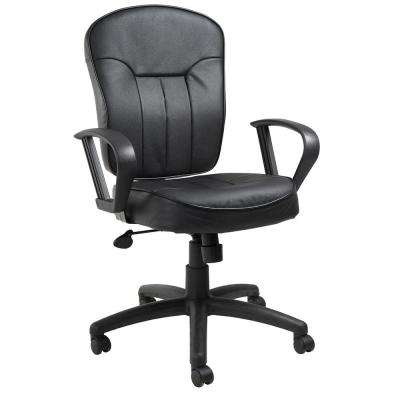 Black Leather Task Chair with Loop Arms