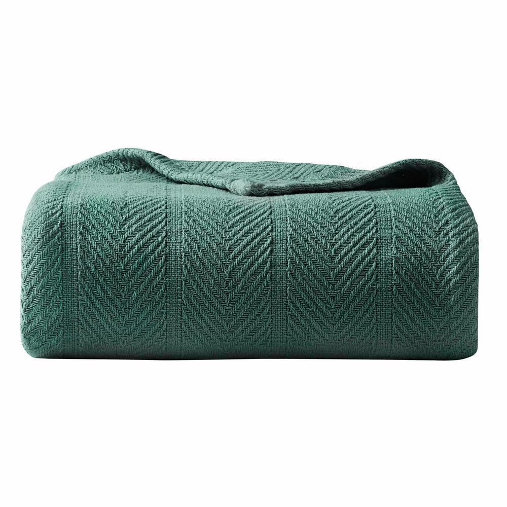 Herringbone Green Cotton Blanket, King