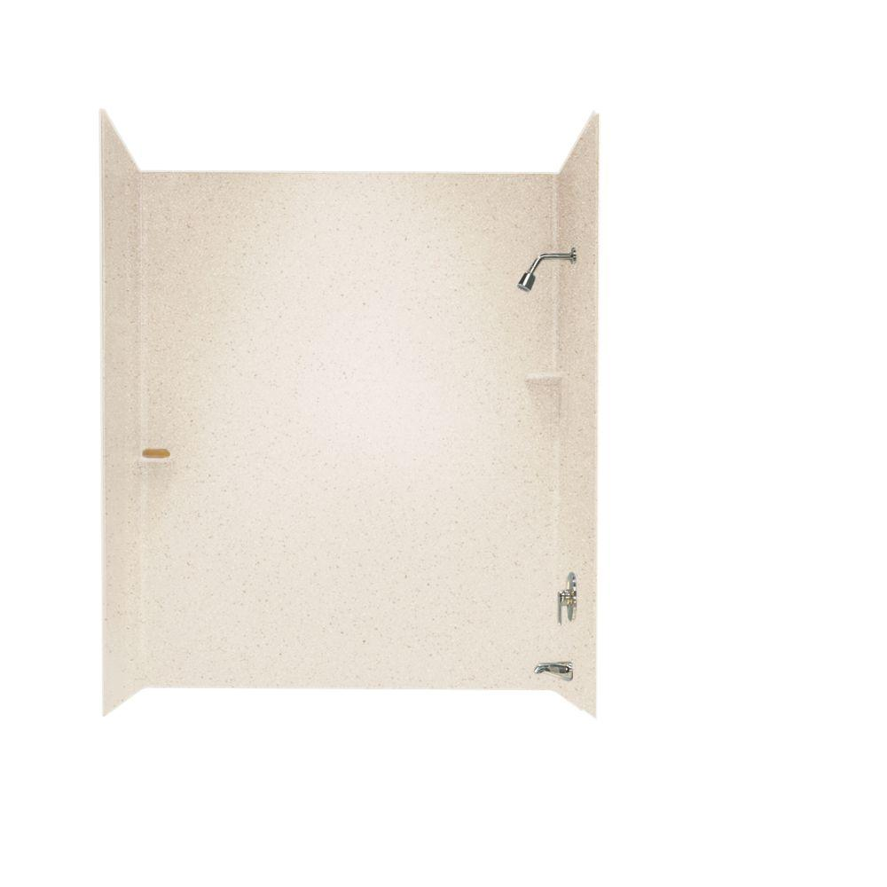Swan 30 in. x 60 in. x 60 in. 3-Piece Easy Up Adhesive Tub Wall in Tahiti Sand