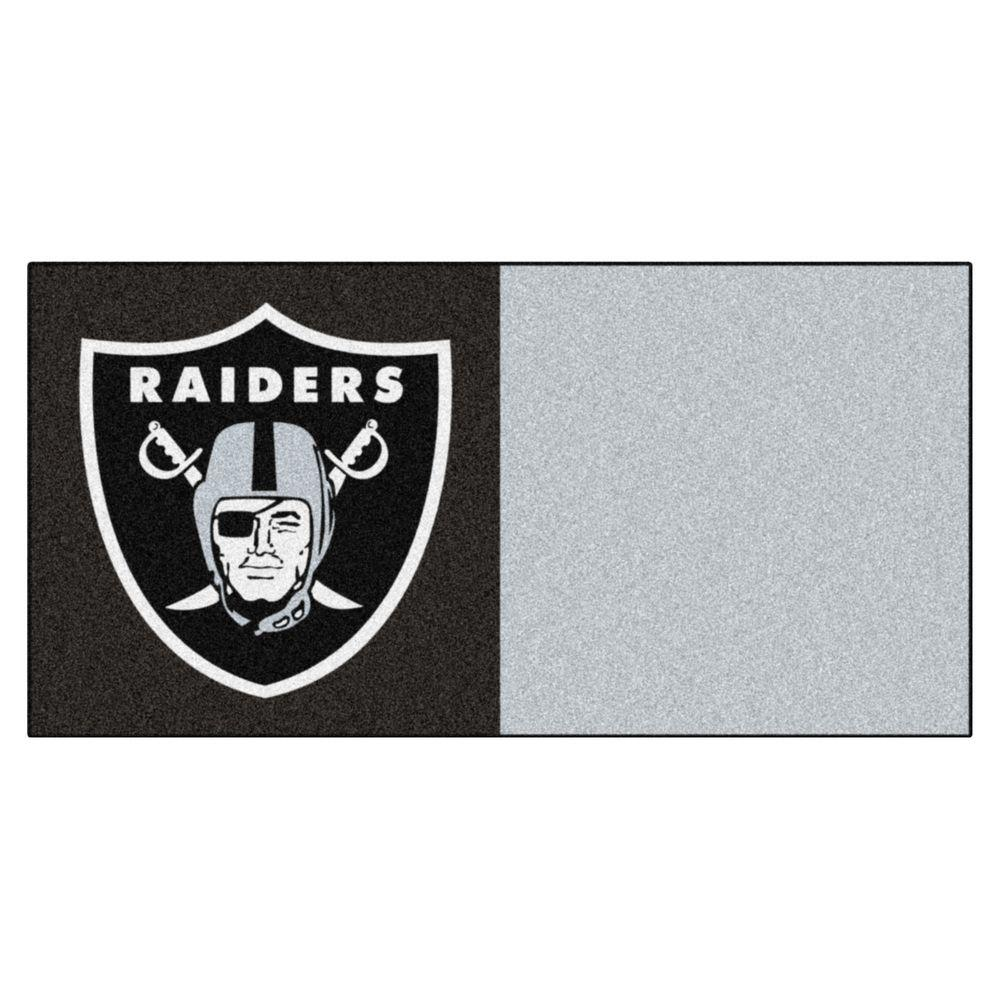 FANMATS NFL - Oakland Raiders Black and Grey Nylon 18 in. x 18 in. Carpet Tile (20 Tiles/Case)
