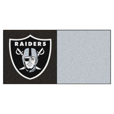 NFL - Oakland Raiders Black and Grey Nylon 18 in. x 18 in. Carpet Tile (20 Tiles/Case)