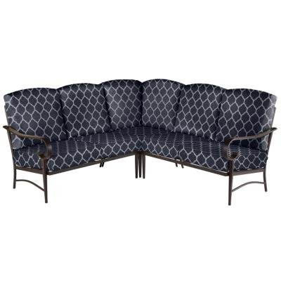 Oak Cliff Brown 3-Piece Steel Outdoor Patio Sectional Sofa with CushionGuard Midnight Trellis Navy Blue Cushions