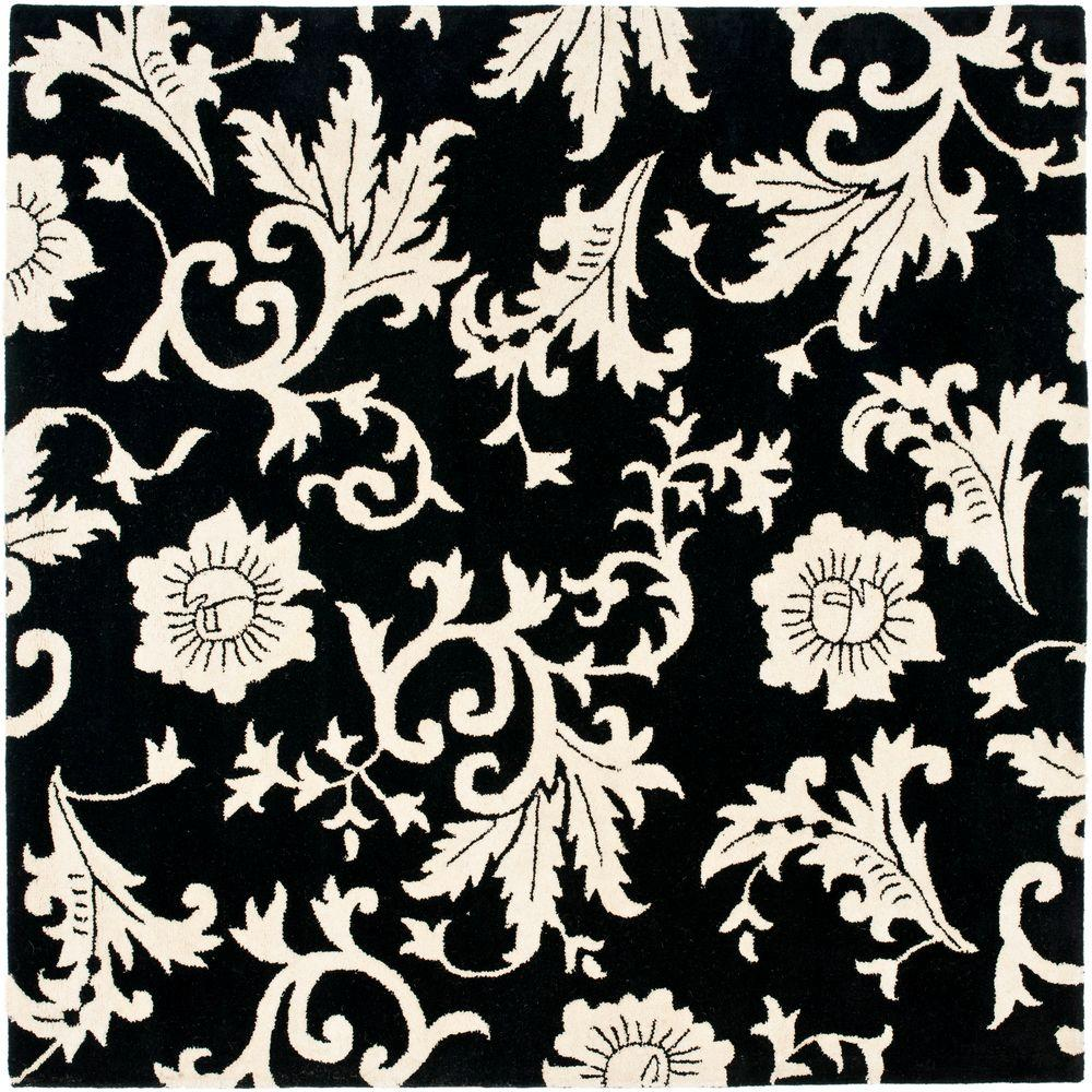 Safavieh Soho Black/Ivory 6 ft. x 6 ft. Square Area Rug