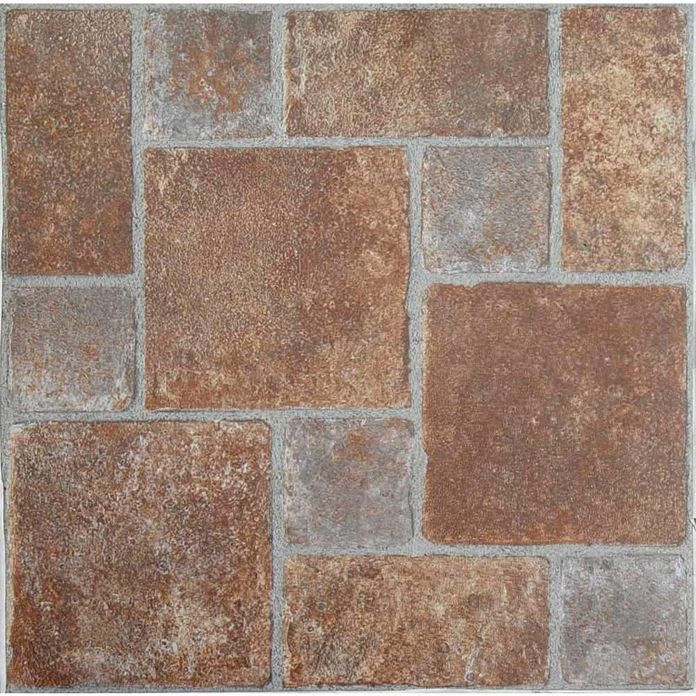 Linoleum Flooring Lowes >> Achim Tivoli Rust 12 in. x 12 in. Peel and Stick Pavers Pattern Vinyl Tile (45 sq. ft. / case ...