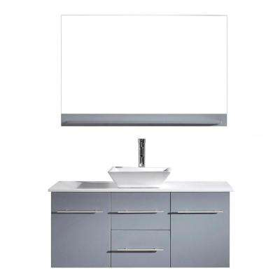 Marsala 49 in. W Bath Vanity in Gray with Stone Vanity Top in White with Square Basin and Mirror and Faucet