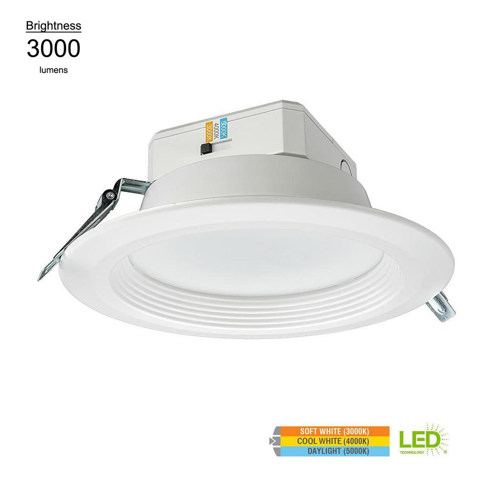 Eti 8 In High Output 3000 Lumens Integrated Led Recessed Trim Can Light 3000k 4000k 5000k Multi Volt Wet Rated Dimmable