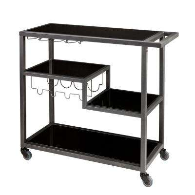 Contemporary Style Gray and Black Metal Bar Cart with Tempered Glass Shelves