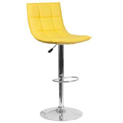 Contemporary Yellow Quilted Vinyl Adjustable Height Barstool with Elongated Curved Back and Chrome Base
