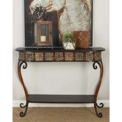 Brown Rounded Rectangular Console Table in Polished Dark Merlot with Scrolled Legs and Bottom Shelf