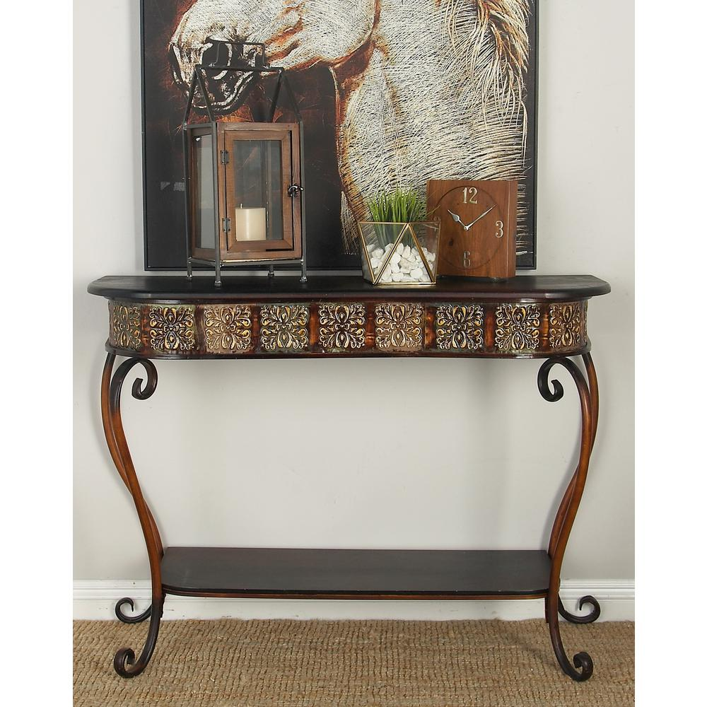 Litton Lane Brown Rounded Rectangular Console Table In Polished Dark Merlot With Scrolled Legs And Bottom