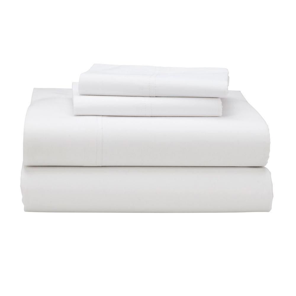 The Company Store Company Cotton 4-Piece White 300 Thread Count Percale