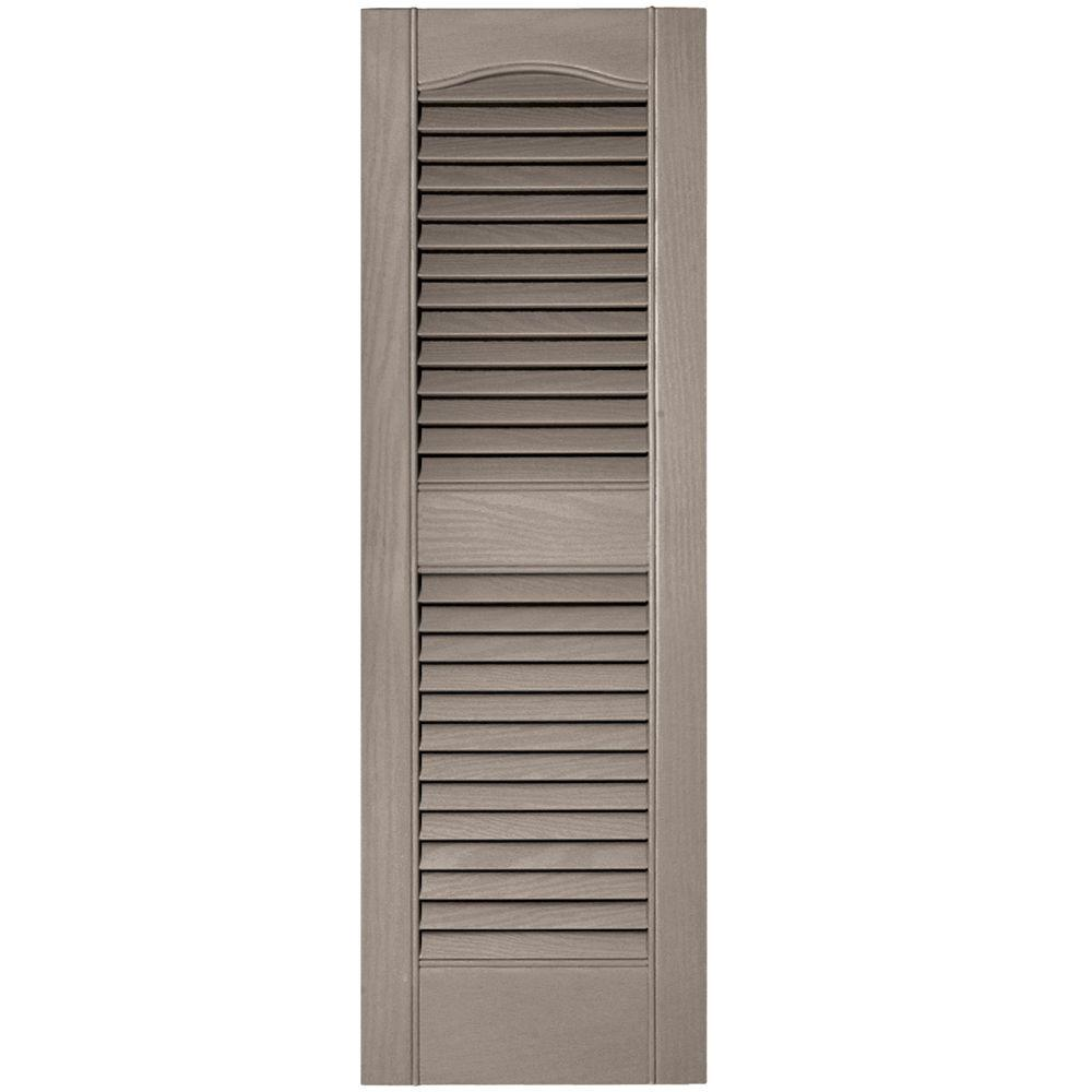 Builders Edge 12 In X 36 In Louvered Vinyl Exterior Shutters Pair 008 Clay 010120036008 The