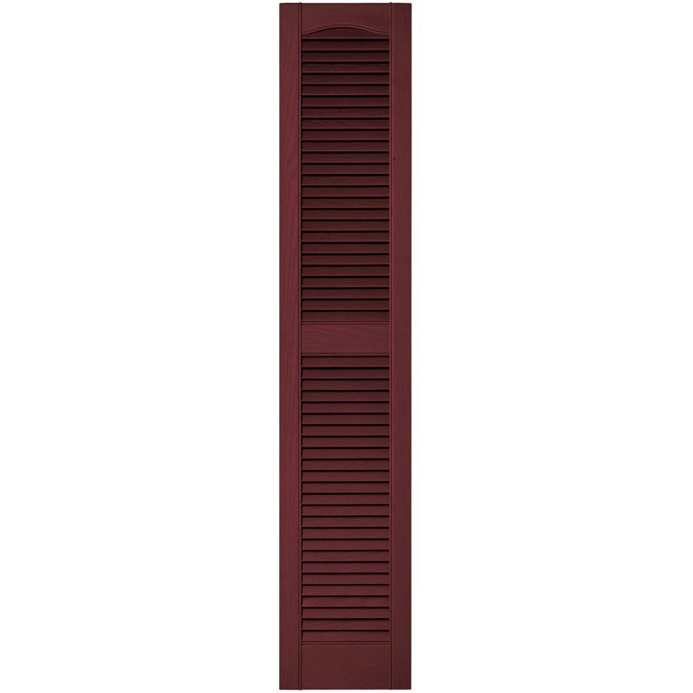 Builders Edge 12 in. x 60 in. Louvered Vinyl Exterior Shutters Pair in #078 Wineberry
