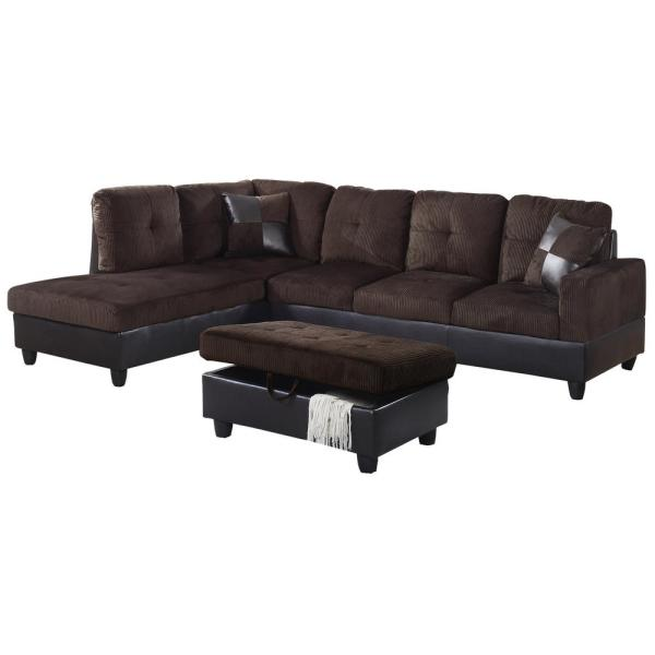 Espresso Brown Microfiber and Faux Leather Left Chaise Sectional with Storage