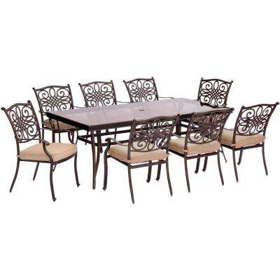 Seasons 9-Piece Aluminum Outdoor Dining Set with Tan Cushions with Extra-Long Glass-Top Dining Table