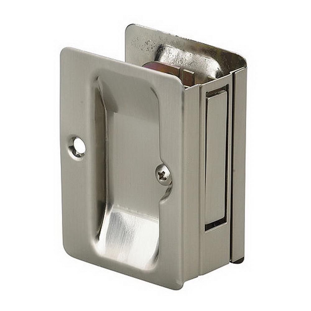 3-7/32 in. Brushed Nickel Pocket Door Pull with Passage Handle
