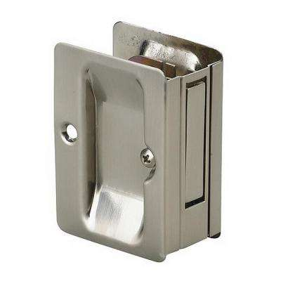 3-7/32 in. Brushed Nickel Pocket Door Pull with Passage Lock