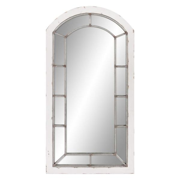 Large Rectangle Distressed White Hooks Mirror (44.5 in. H x 24 in. W)