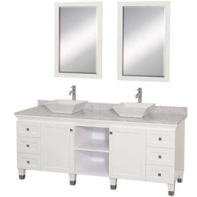 Premiere 72 in. Vanity in White with Marble Vanity Top in Carrara White with White Porcelain Sinks and Mirrors