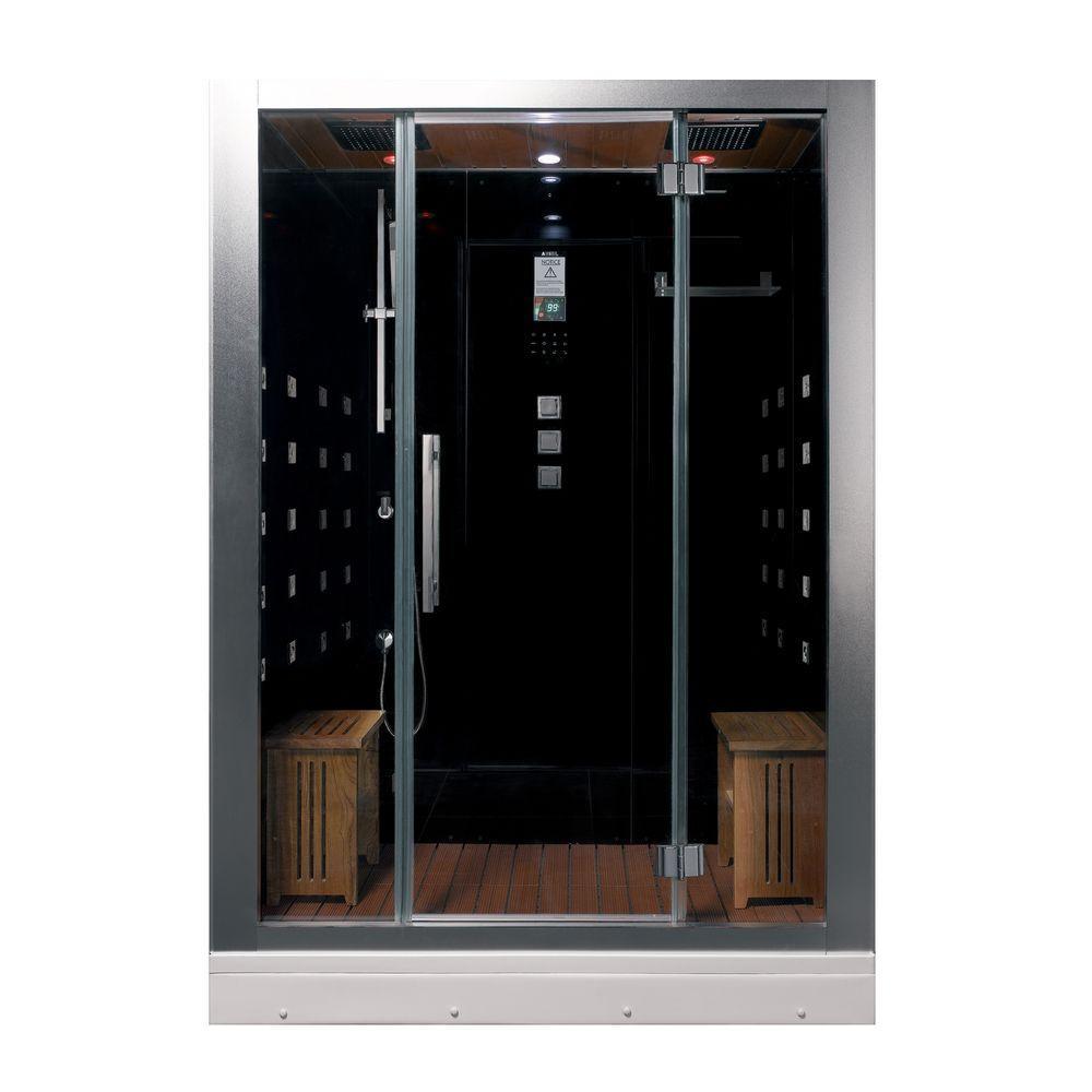 Ariel 59 inch x 32 inch x 87.4 inch Steam Shower Enclosure Kit in Black by Ariel