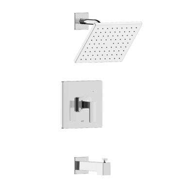 Hotel De Ville Single Handle 1-Spray Square Tub and Shower Faucet in Chrome Valve Included