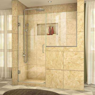 Unidoor Plus 58 in. to 58-1/2 in. x 72 in. Frameless Pivot Shower Door in Brushed Nickel with Buttress Panel