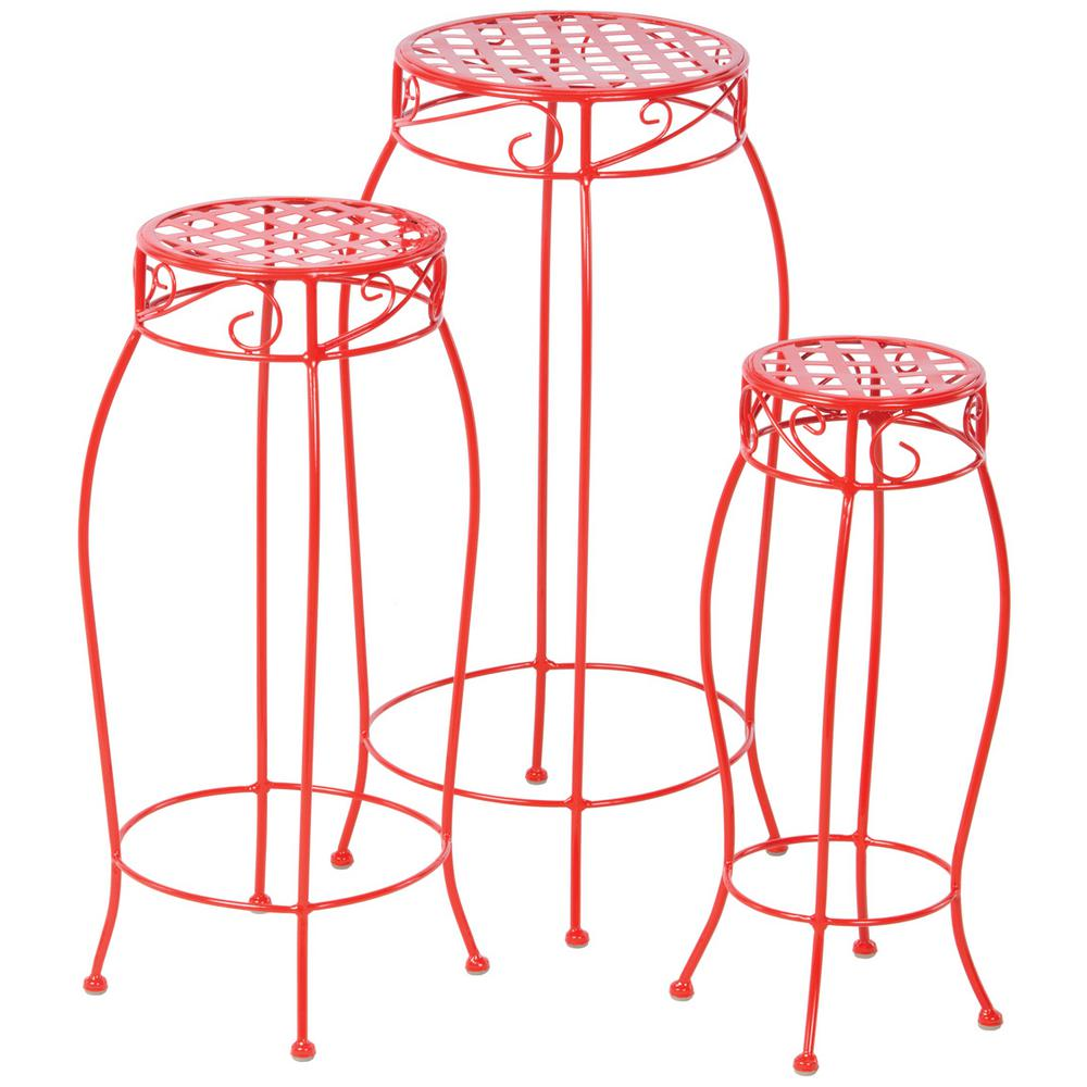 Alfresco Martini Iron Coated Plant Stand in Cherry Pie Red (3-Set)