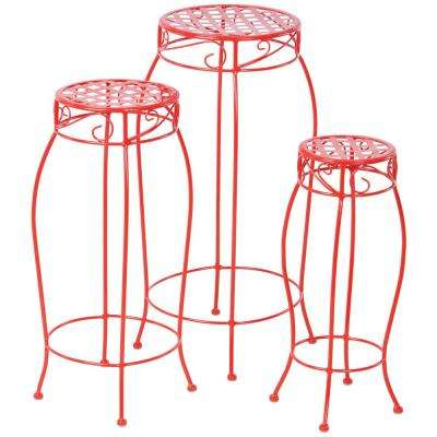 Martini Iron Coated Plant Stand in Cherry Pie Red (3-Set)