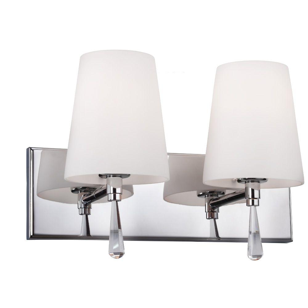 Feiss Monica 14 in. W 2-Light Chrome Vanity Light with Optional Crystal Water Drop Accent Details and Opal Glass Shades